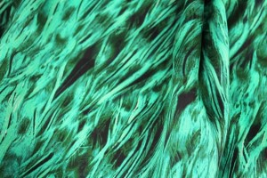 Silk Satin - Green and Teal Feather Print