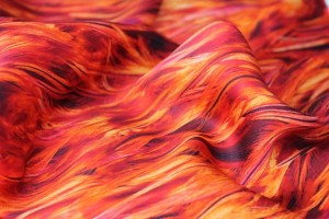 Silk Satin - Orange and Red Feather Print