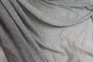 Beaded Silk Chiffon - Pearl Grey with Clear Beads