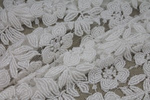Heavily Beaded Lace in Ivory