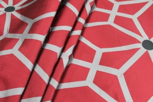 Geometric Brocade - Red Black Grey