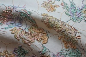 Copper and Pastel Floral Brocade