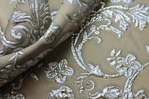 Taupe Grey and Metallic Silver Brocade