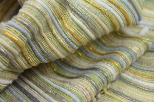 Chunky Stripe Silk Lurex Matka - Yellow/Green