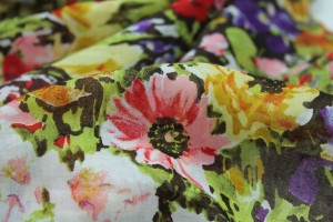 Floral Print Cotton - Brown, Red and Green