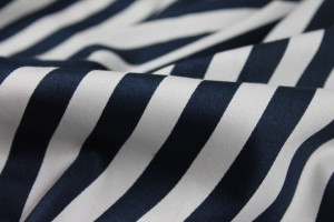 Striped Cotton Sateen - Navy and White