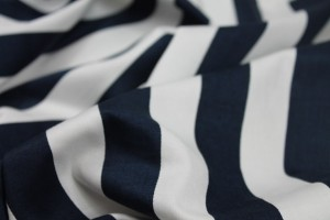 Striped Cotton Sateen - Wide Navy and White
