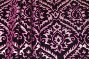 Embossed Viscose Velvet - Burgundy Gold Foil