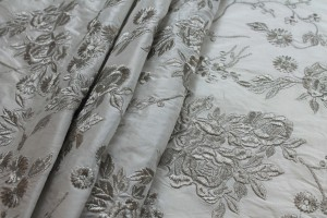 Silver Floral Embroidery on White Silk Dupion