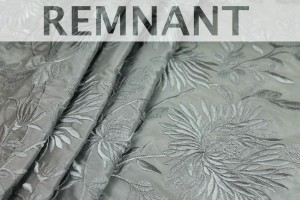 REMNANT - Floral Embroidered Silk Taffeta - Duck Egg Blue - 0.8m piece