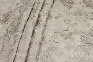 Floral Embroidered Silk Taffeta - Blush