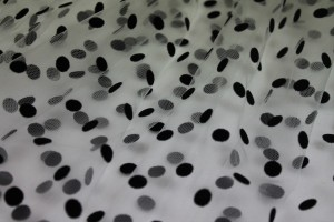 Flock Spot Tulle - Black on White - Medium