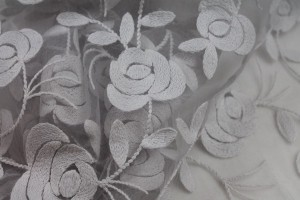 Floral embroidered Tulle - Grey