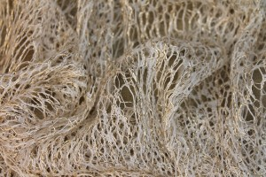 Gold Corded Mesh Fabric - Ivory.