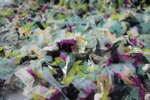 Tulle and Lace Strips on Black Tulle - Multi Coloured