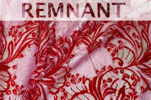 REMNANT - Pale Pink and Red Leavers Lace  - 1.65m piece