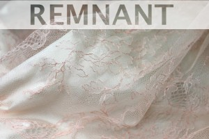 REMNANT - Pale Salmon Pink Chantilly Lace - 1.1m piece