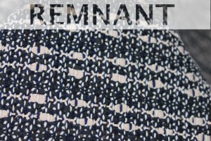 REMNANT - Cotton and Viscose Tweed - Navy / Ivory - 1m piece