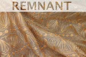 REMNANT - Embroidered Silk Organza - Golden Yellow Squiggles On Pale Gold - 1.4m piece
