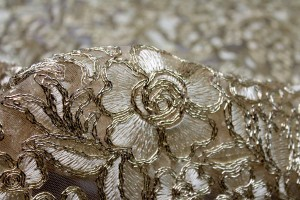 Gold Corded Embroidered Tulle