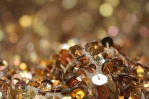 Warm Gold Mixed Sequin On Silk Georgette