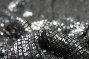 Tarnished Silver Square Sequin On Black Silk Chiffon