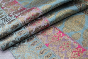 Banaras Brocade - Stripe Paisley in Dusty Blues, Pinks and Navy Blue