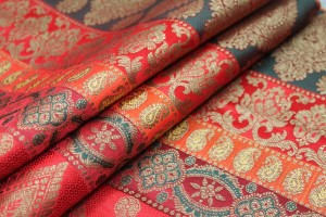 Banaras Brocade - Stripe Paisley in Reds, Pinks and Dark Green