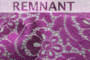 REMNANT - Grey Wool Embroidered with Purple - 2m piece