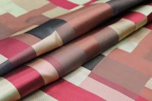 Geometric Red, Gold and Brown Poly Brocade