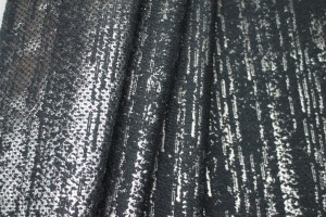 Reversible Wool / Lurex Texture Weave - Black / Charcoal