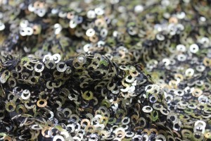 Green, Gold and Bronze Donut Sequin On Black Silk Chiffon