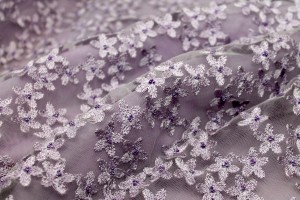 Beaded and Embroidered Flowers on Tulle - Lilac