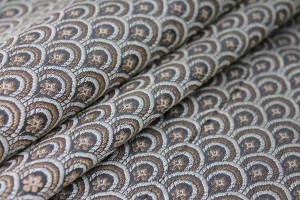 Banaras Brocade - Charcoal, Ivory and Gold Scale Pattern
