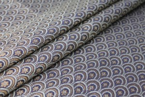 Banaras Brocade - Navy Blue, Ivory and Gold Scale Pattern