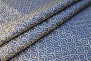 Banaras Brocade - Royal Blue, Ivory and Gold Scale Pattern