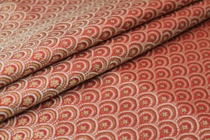 Banaras Brocade - Red, Cream and Gold Scale Pattern