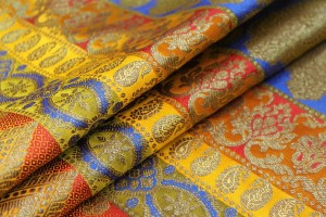 Banaras Brocade - Stripe Paisley in Yellow, Red, Orange, Citrine and Royal Blue