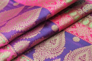 Banaras Brocade - Stripe Paisley in Purples, Pinks and Bright Green