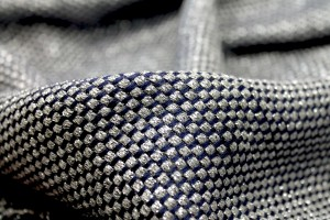 Navy, Grey and Silver Basket Weave