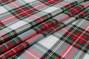 Stretch Tartan - Ivory, Multi