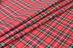 Stretch Tartan - Red, Multi, Small Check