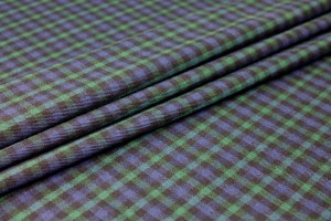 Stretch Tartan - Blue, Navy and Green Small Check