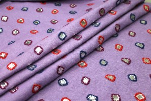 Embroidered Lilac Wool with Mirrors