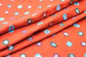 Embroidered Orange Wool with Mirrors