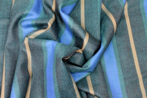 Lightweight Wool Suiting - Teal and Blue Stripe