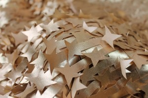 Gold Leatherette Stars on Tulle