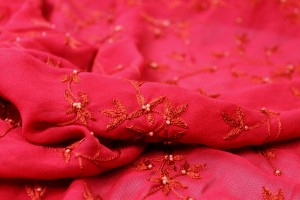 Red Floral Embroidered Silk Chiffon with Pearls