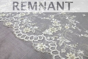 REMNANT - Beaded Embroidered Tulle in Ivory - 0.75m piece