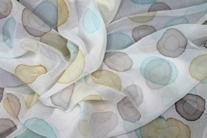 Silk Chiffon w/Ink Droplets - Teal, Mushroom and Yellow
